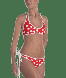 White and Red Hearts Reversible Bikini - Ladies' Beachwear Bathing Suit