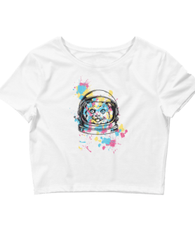 Women's Astronaut Cat Crop Top