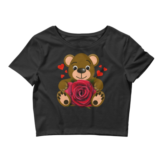 Women's Bear Love with Realistic Red Rose Crop Top