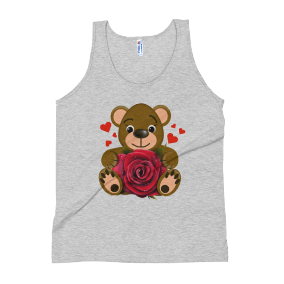 Women's Bear Love with Realistic Red Rose Tank Top