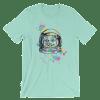 Women's Colorful Astronaut Cat Short Sleeve T-Shirt