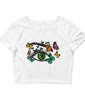 Women's Cute Green Realistic Eye and Butterflies Crop Top