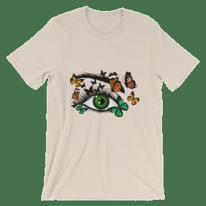 Women's Cute Green Realistic Eye and Butterflies Short Sleeve T-Shirt