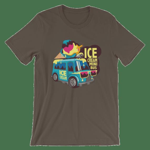 Women's Cute ice Cream Mini Bus Short Sleeve T-Shirt