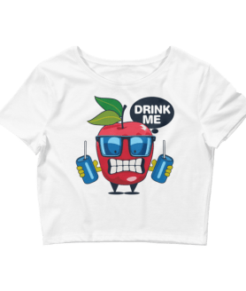 Women's Funny Apple - Drink Me Crop Top
