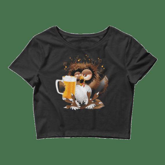 Women's Funny Drunk Owl with Glass of Beer Crop Top