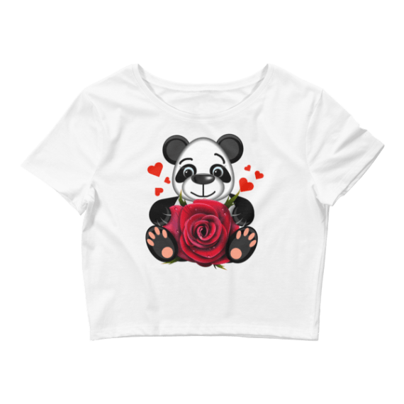 Women's Love Panda with Realistic Red Rose Crop Top