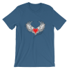 Women's Red Heart with Gray Angel Wings Short Sleeve T-Shirt
