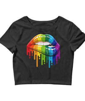 Women's Sexy Rainbow Lips Crop Top