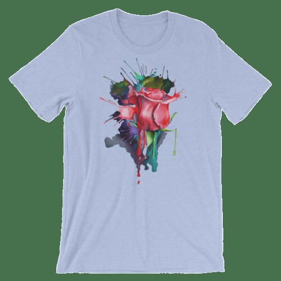 Women's Watercolor Rose Short Sleeve T-Shirt
