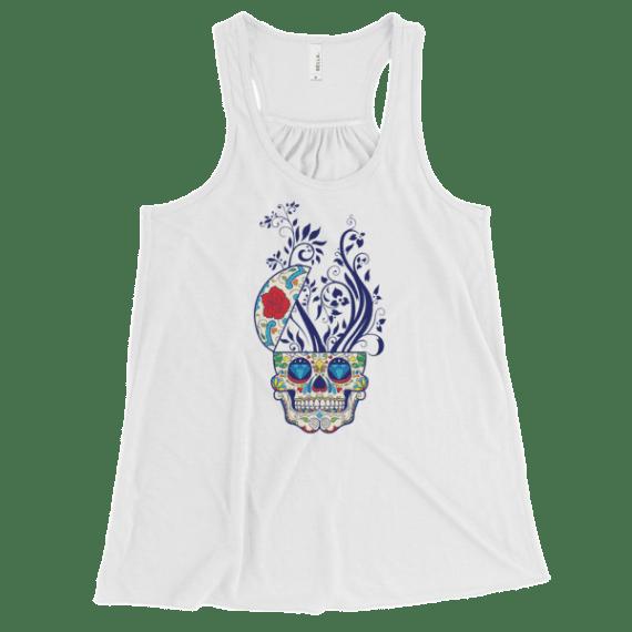 Women's Sugar Skull and Floral Print Flowy Racerback Tank Top