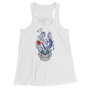 Women's Sugar Skull and Floral Print Flowy Racerback Tank Top