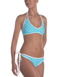 Black Hearts with Ocean Blue and White Striped Top And Bottom Reversible Bikini - Ladies' Beachwear Bathing Suit