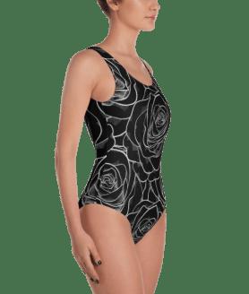 Black Roses One-Piece Swimsuit - Ladies' Beachwear Bathing Suit