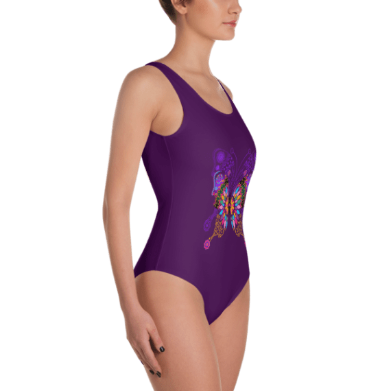 Colorful Butterfly One Piece Swimsuit - Women's Beachwear Bathing Suit