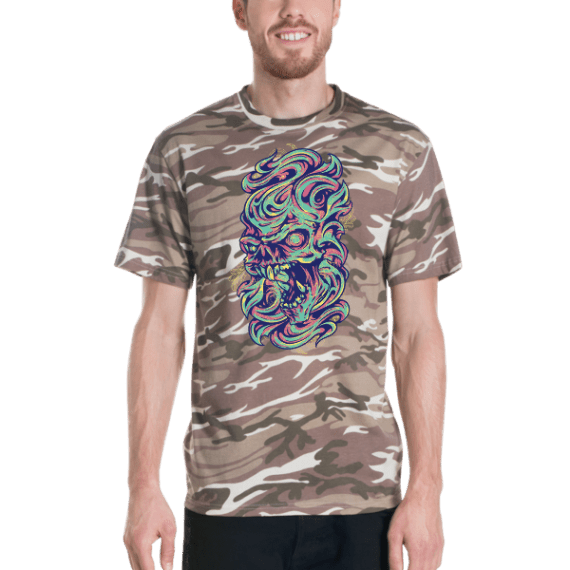 colorful skull Short sleeved camouflage t-shirt