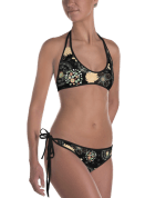Dandelions With Floral Ornament Reversible Bikini - Women's Beachwear Bathing Suit