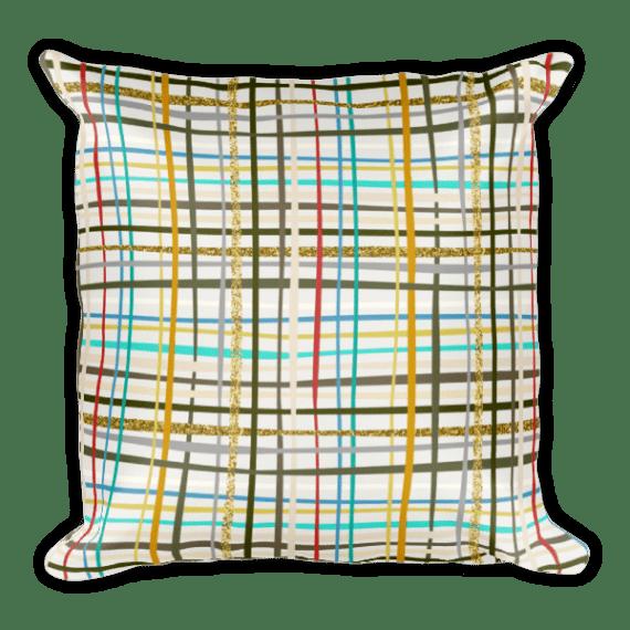 Gold Glitter Textured Stripes Square Pillow