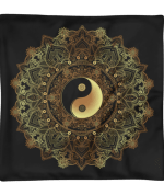 Golden Yin And Yang Mandala Flower Square Pillow Case only
