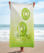 Kiwi drop on juice splash and ripple towel