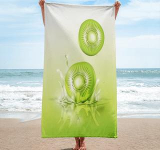 Kiwi drop on juice splash and ripple towel
