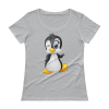Ladies' Cute Penguin Winking Scoopneck T-Shirt