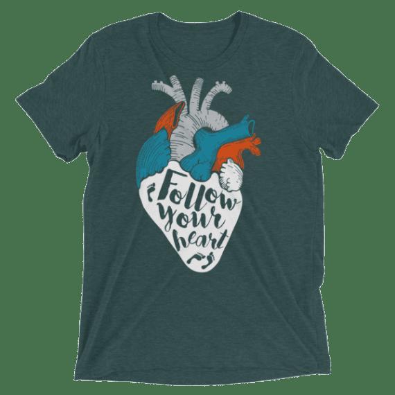 Ladies' Follow Your Heart TShirt, Women's Street Style Short sleeve t-shirt, Women's Top T-Shirts
