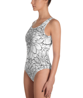 Ladies' Fun Wear Sexy White Lotus Flower One Piece Swimsuit - Women's Beachwear Bathing Suit