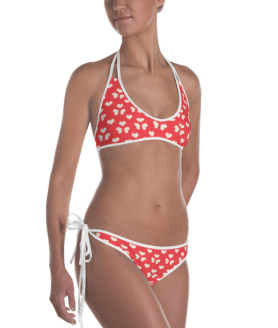 Ladies' Fun Wear Two Pieces Clear Super Sexy Hearts on Red Print On Top And Bottom Reversible Bikini - Women's Beachwear Bathing Suit