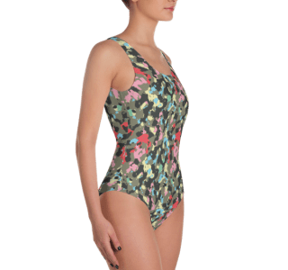 Multicolor Fashion Woodland Camouflage One Piece Swimsuit - Ladies' Colored Military Camo Beachwear Bathing Suit