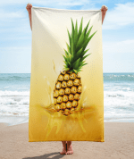 pineapple drop on juice splash and ripple towel