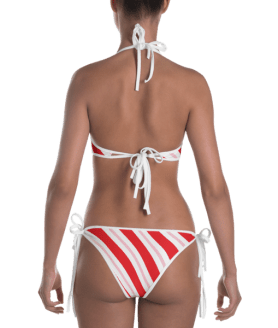 Red, White and Pink Stripes Reversible Bikini - Ladies' Double Face Beachwear Bathing Suit