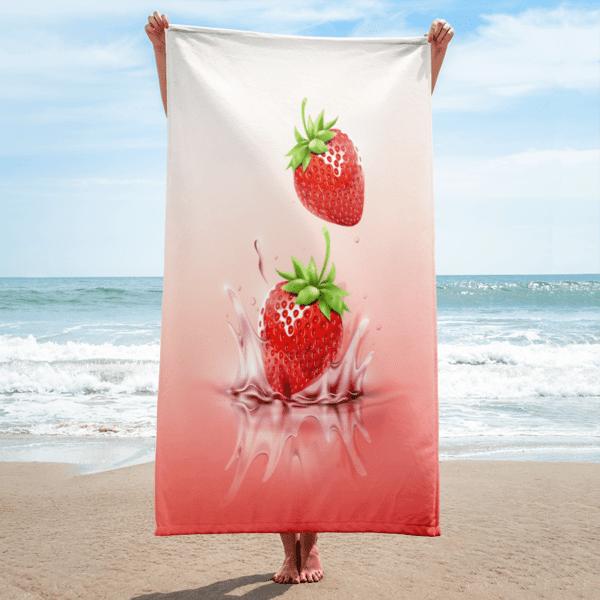 Strawberries drop on juice splash and ripple towel