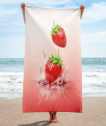 Strawberries drop on juice splash and ripple towel