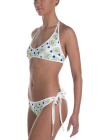 White, Pink and yellow Flowers on the polka dots Print Reversible Bikini - Women's Beachwear Bathing Suit