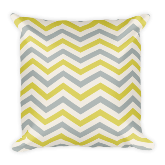 Yellow and Grey Striped Square Pillow