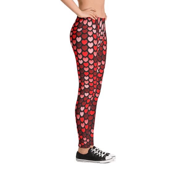 Women's Red and Pink Hearts Yoga Pants - New Happy Love Hearts Leggings