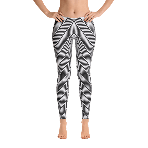 Cool Black and White Funky Zigzag Wave Leggings