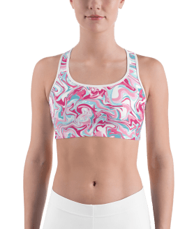 Hot Pink Liquid Paint Sports Bra