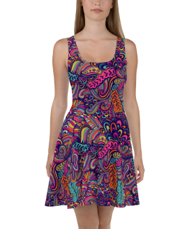 New Bright Fashionable Floral Skater Dress