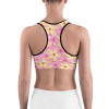 Pink and Orange Summer Tropical Flowers Sports Bra
