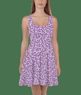 Trendy Hot Summer Purple Tropical Flowers Print Skater Dress