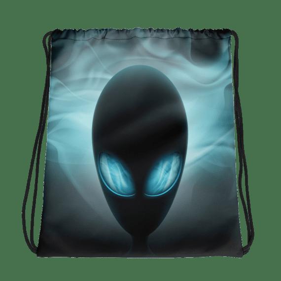 Alien Head with Glowing Eyes Drawstring bag