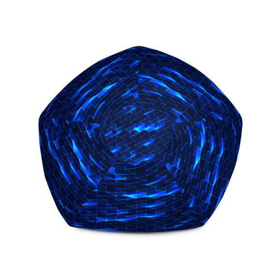 Glowing Blue Bean Bag Chair With Filling - Big Brilliant Shiny Bean Bag