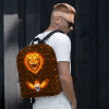 Halloween Powerful Lion Face & Skull In Hot Fire Backpack