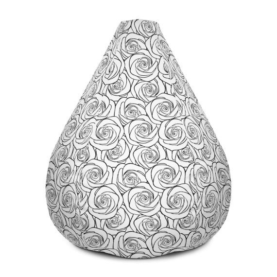 Large White Roses Bean Bag Chair With Filling