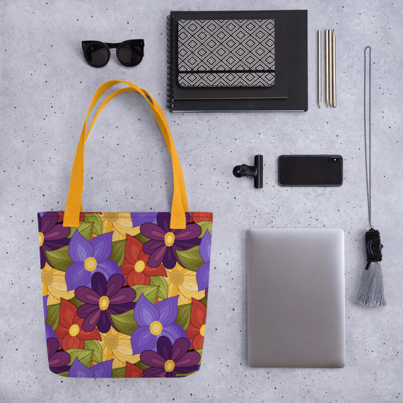 Multi-Colored Floral Pattern Tote bag