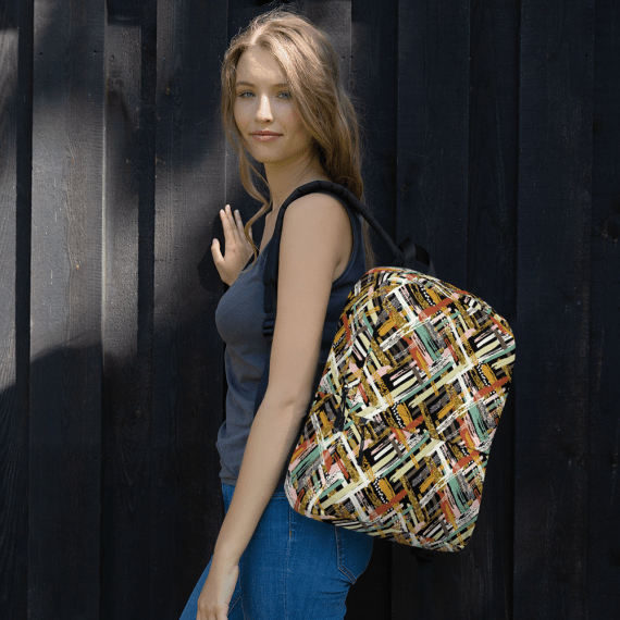 Multicolored Striped Student Backpack