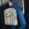 Trendy Colorful Striped Lips Backpack