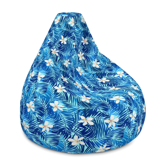 Tropical Palms and Frangipani Flowers on Turquoise Background Bean Bag Chair With Filling